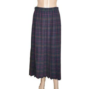 NWT Long Maxi Plaid Blue Red Wool Pleated Skirt 12